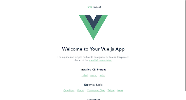 Vue Welcome Page