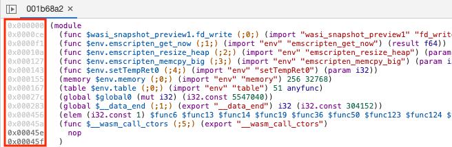 the editor now displays bytecode (hexadecimal) offsets