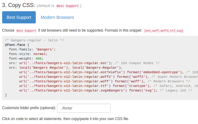 Screenshot of the Copy CSS section for Bangers font from google-webfonts-helper