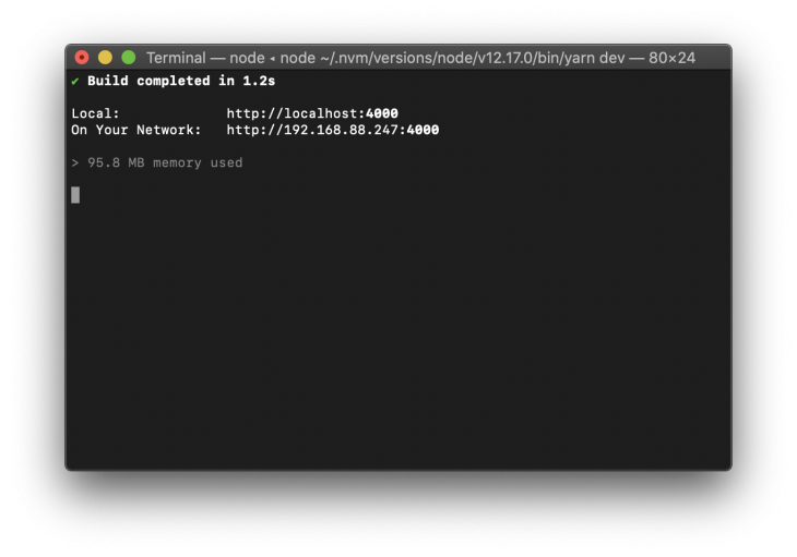 Terminal with build completed message