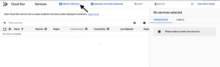 Cloud run dashboard with an arrow pointing to 'create service' tab