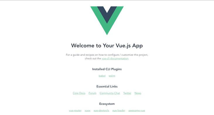 Default Vue Project UI