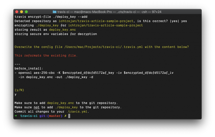 """terminal with """"before install"""" instructions and note """"make sure to add deploy_key.enc to the github repository"""""""