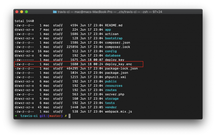 list of files in terminal including deploy_key.enc