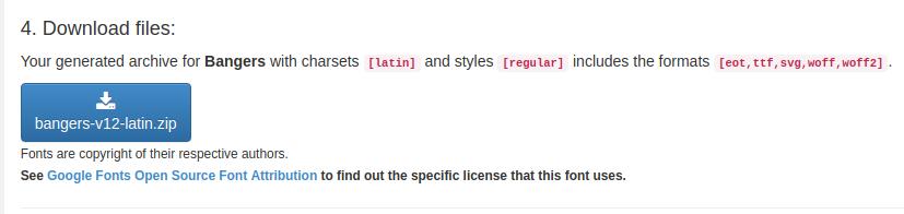 Screenshot of the download files dialog for Bangers font from google-webfonts-helper