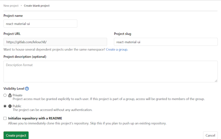 Creating a Project in GitLab Pages