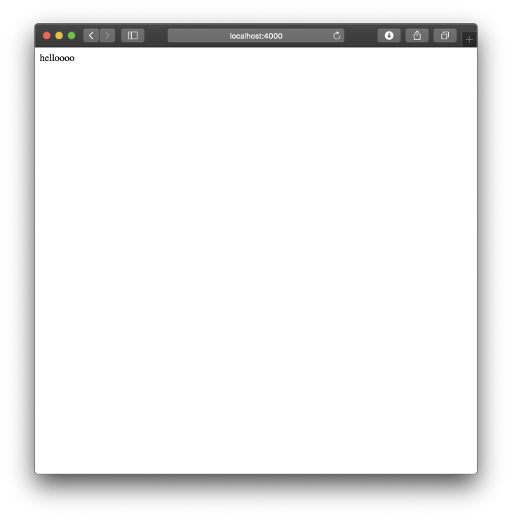 the words hello on blank page running on localhost