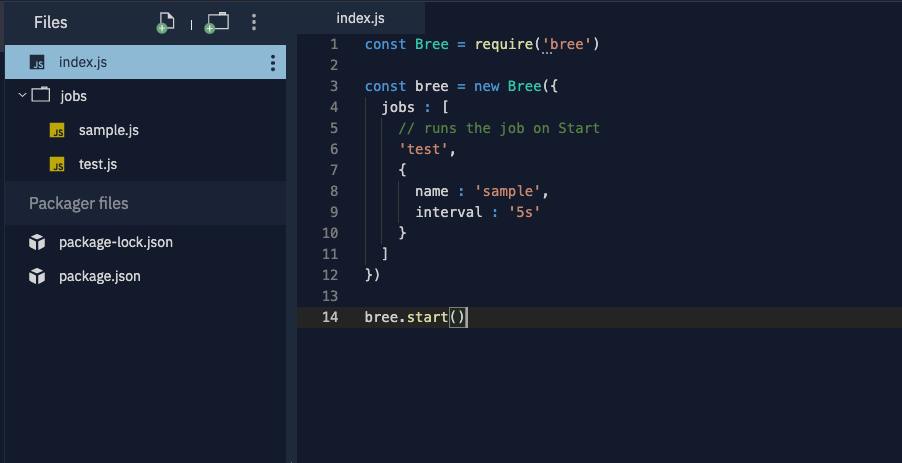 The index section of Bree.js.