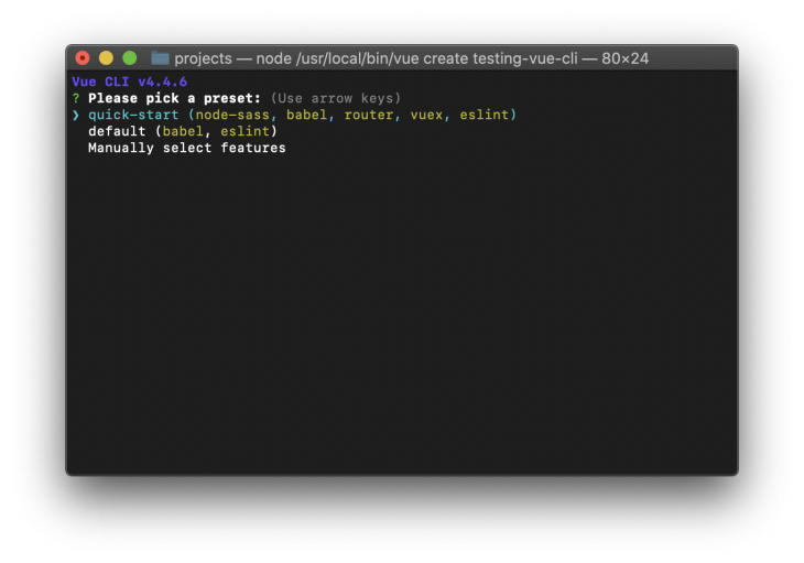 Menu for manually selecting features in terminal