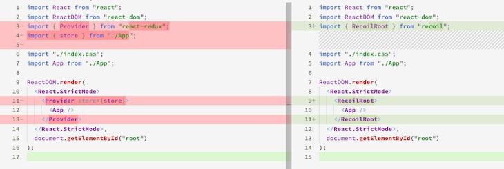 Redux/Recoil Hello World App Diff