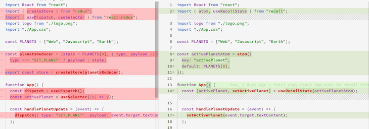 Redux/Recoil Planet Text Buttons Diff