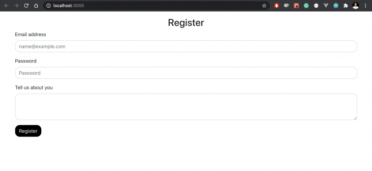 register form with three input fields and submission background with rounded edges