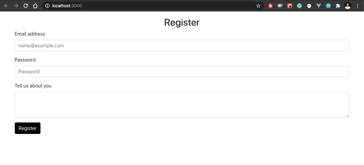 Form with 'register' header and three field inputs and a submission button with black background