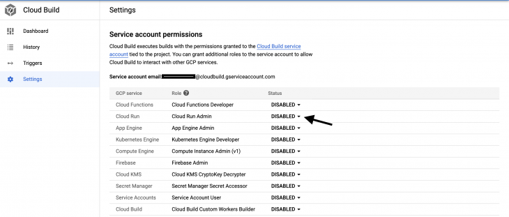 Service account permissions page with list of permissions for google cloud run. Arrow pointing at Cloud Run Admin permissions