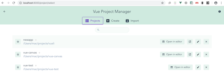 User Interface For The Vue Project Manager
