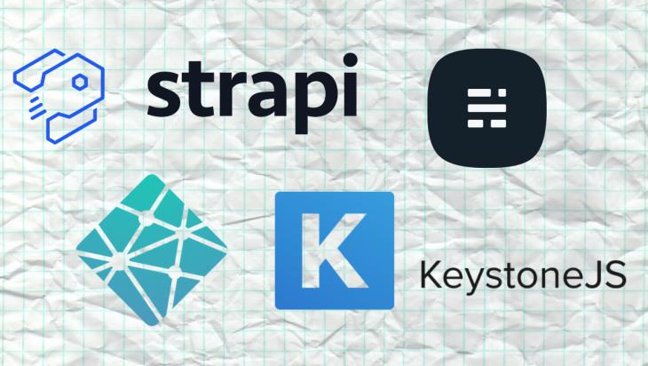 The Strapi, Ghost, Netlify, and Keystone logos.