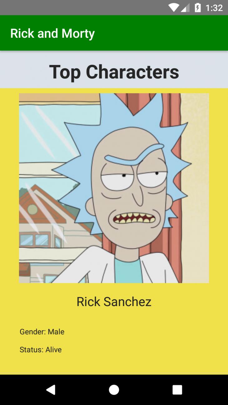 """app showing a picture of rick sanchez with """"name: rick"""" and """"status"""" living"""""""