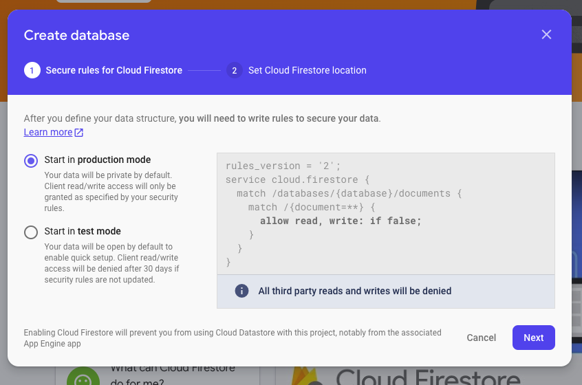 The Firestore modal used to create a database.