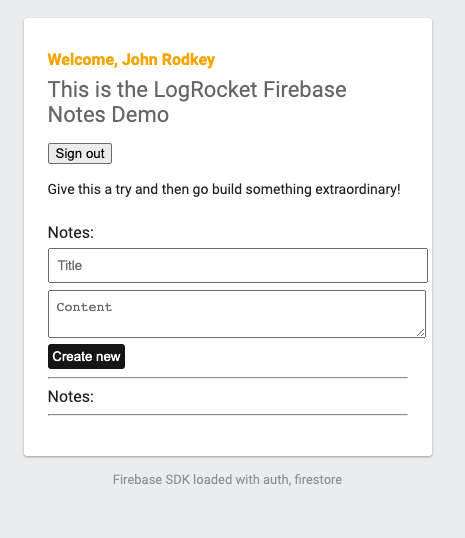 The page for adding new notes.