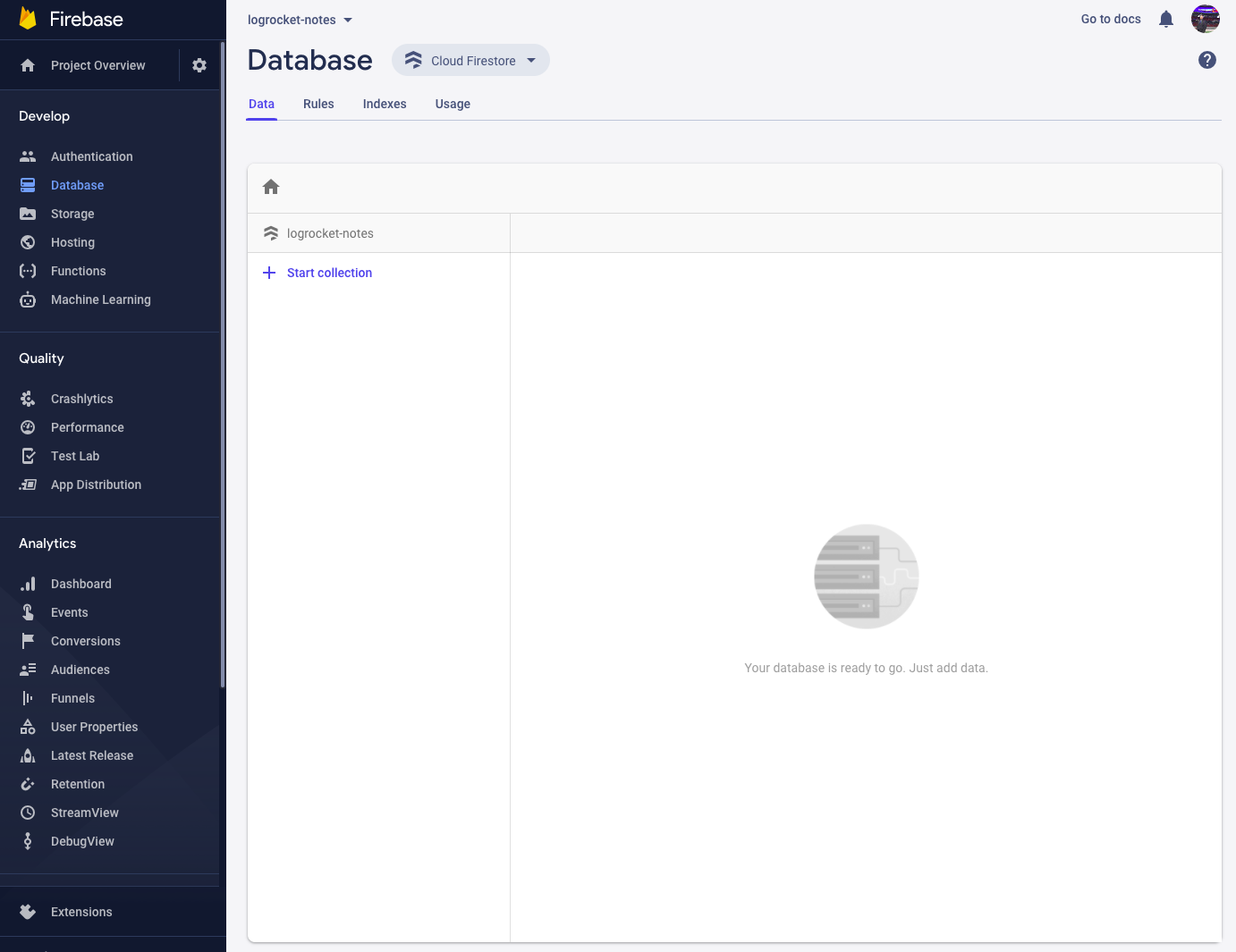 Our newly-created Firestore database.