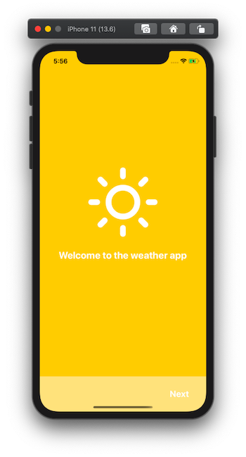 """screen with """"welcome to the weather app"""" and footer"""