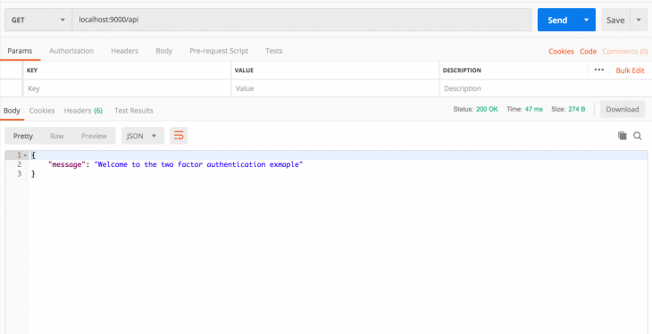 "postman dashboard with Get endpoint with the words saying ""message: Welcome to the two factor authentication example"""