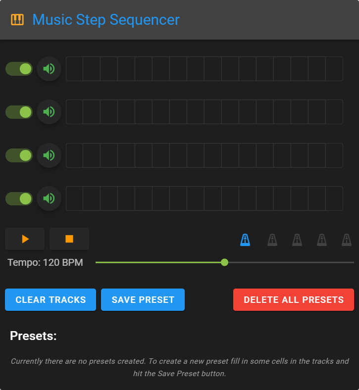 header reading music step sequence and spot of four tracks