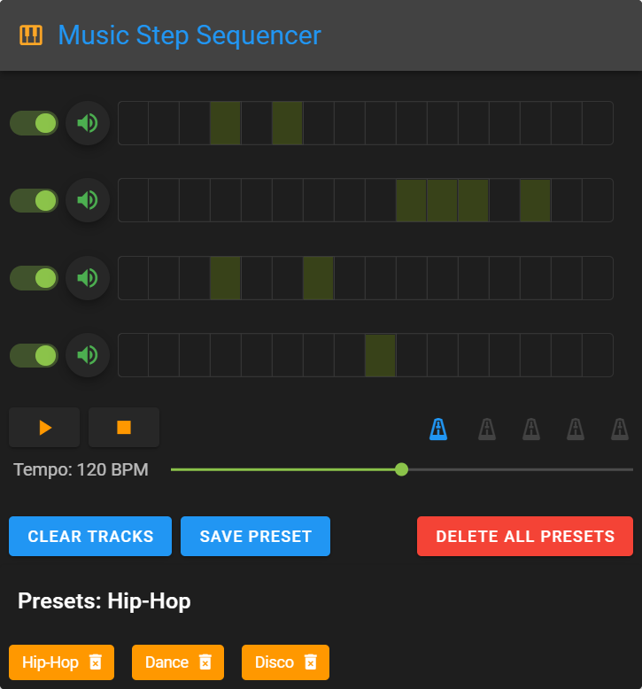 music step sequencer with presets in the four tracks