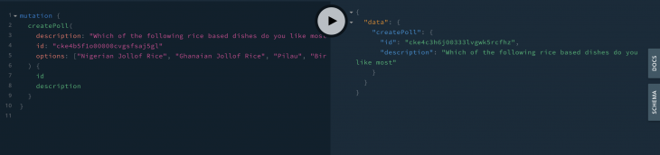 poll in graphql playground asking what rice based dishes the user likes
