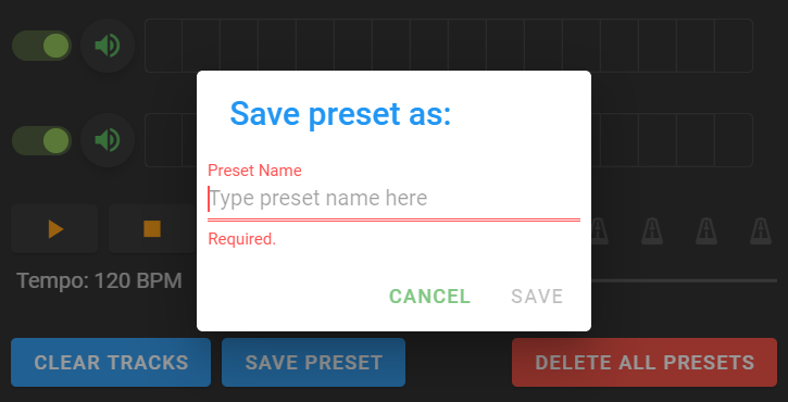 save preset as window pop up