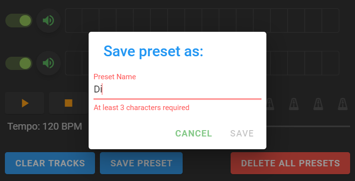 save preset as window pop up with error message requiring 3 characters