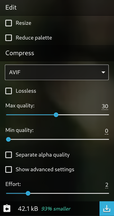 Sqooush AVIF file image compression