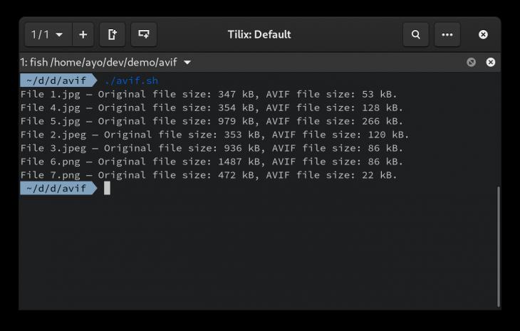 AVIF output file comparison