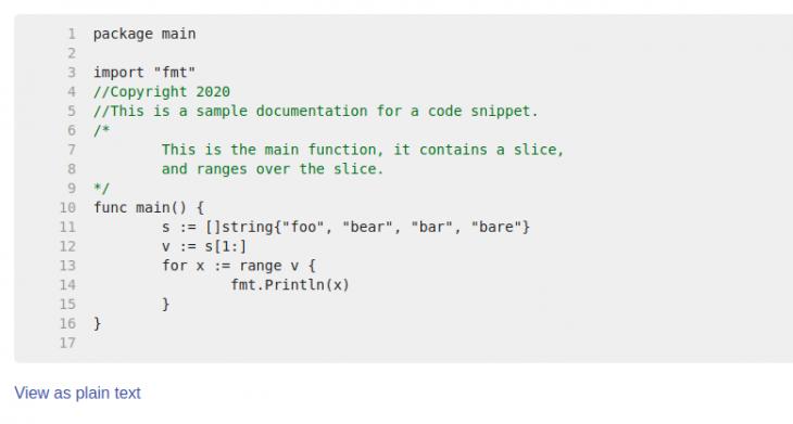 Godoc HTML