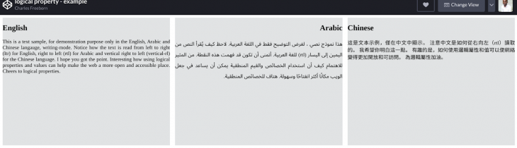 An example of three languages written with logical CSS properties.
