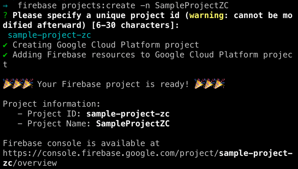 Firebase command to create a project