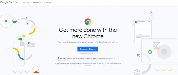 Google Chrome background.