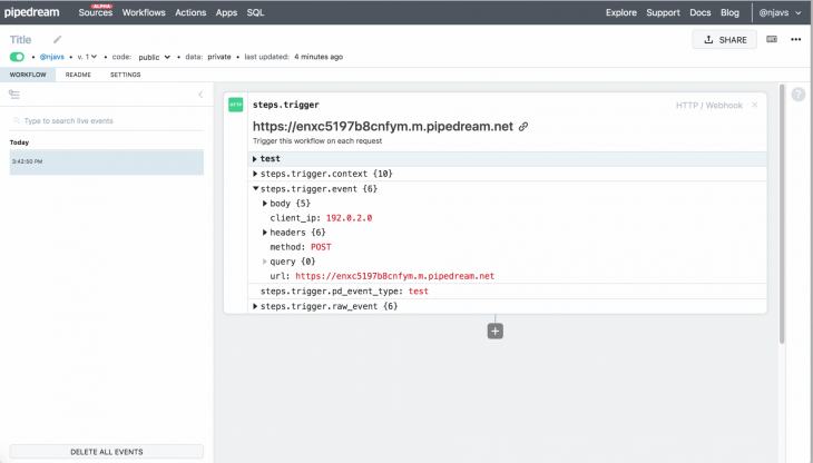 Pipedream Workflow Page Connected to GitHub