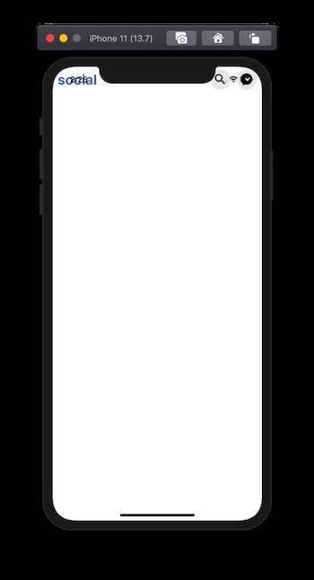 words 'social' on iOS emulator