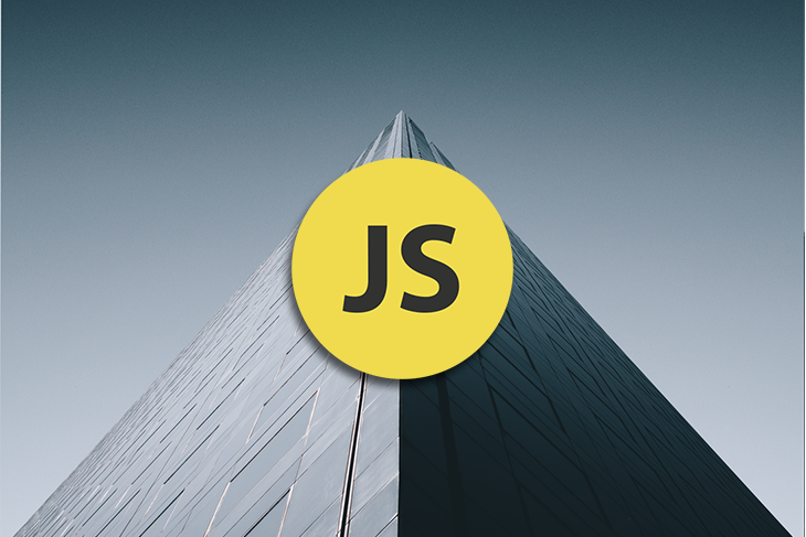 JavaScript logo with a tall building.