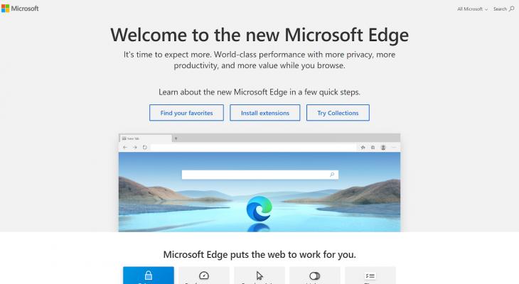 Microsoft Edge homepage.