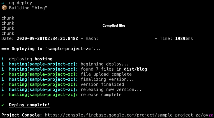Results of a successful deployment using ng deploy