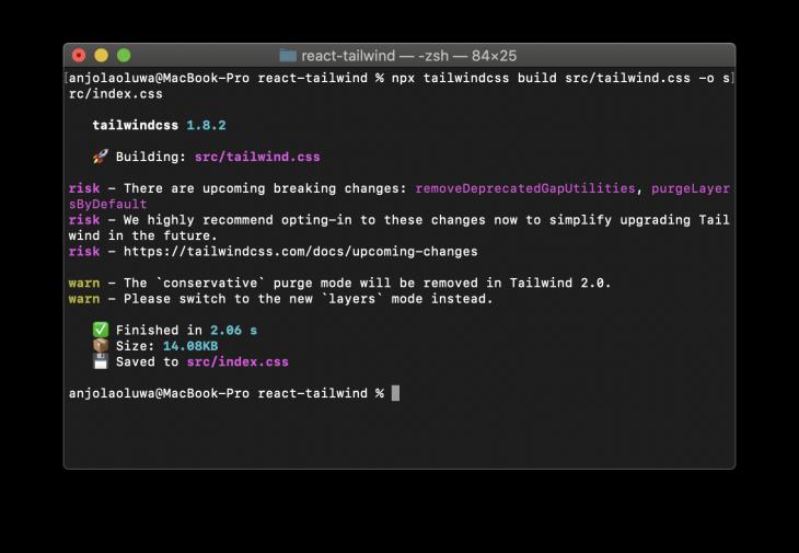 npx tailwindcss command