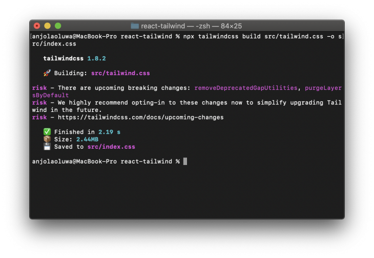 Breaking Changes Message in Command Line Interface