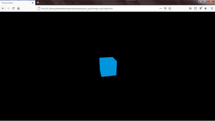 Blue 3D Cube Created With Three.js