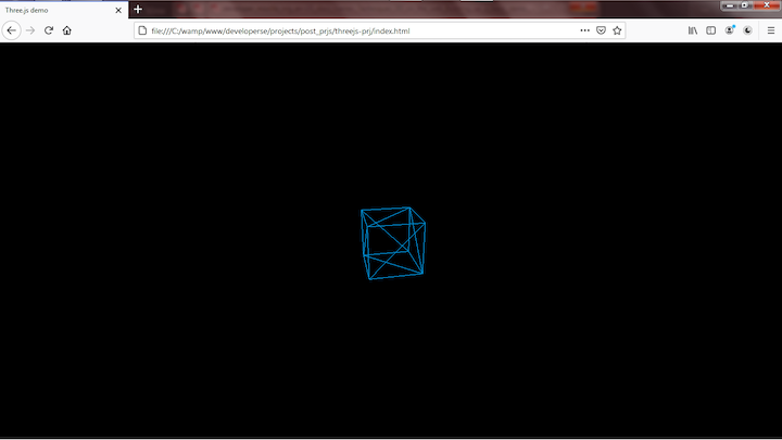 Wireframe Cube Created With Three.js