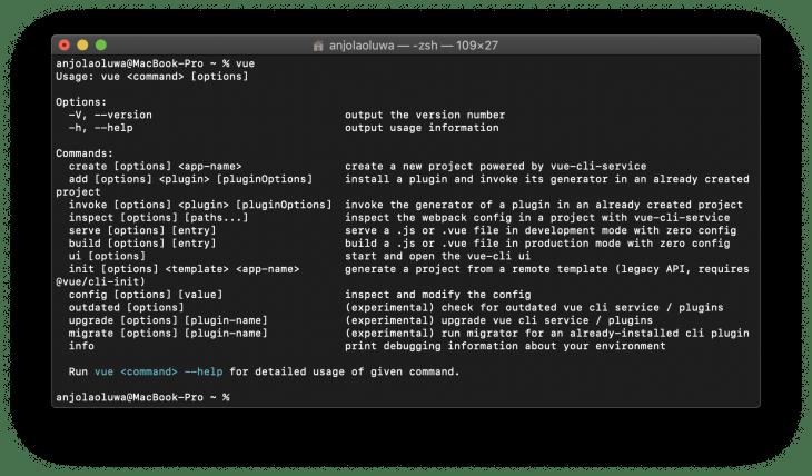 vue create run in terminal