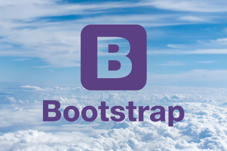 Bootstrap logo over a sky background.