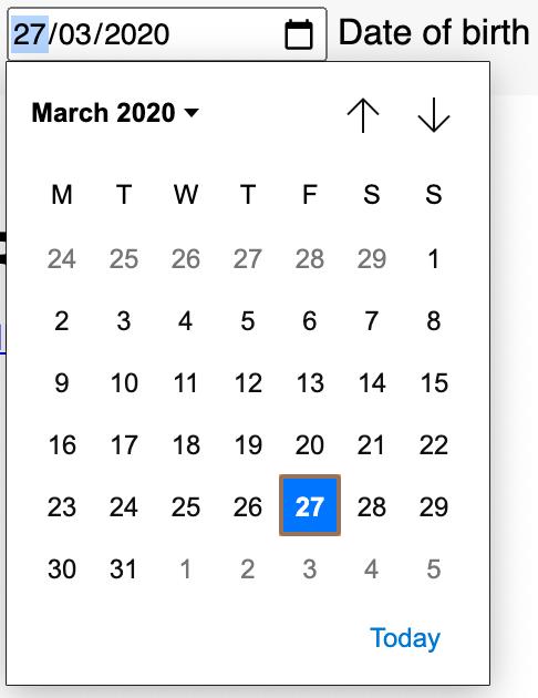 Google Chrome date picker.