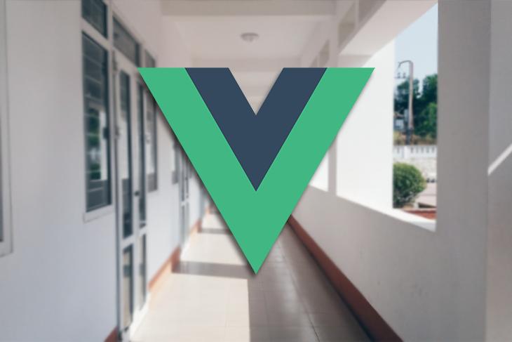 A Vue logo against a school hallway.